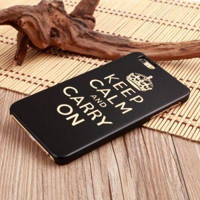 Funda de madera natural oscura (Keep Calm) para iPhone