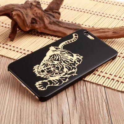 Funda de madera natural oscura (tigre) para iPhone