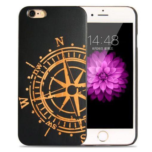 Funda de madera natural oscura (brújula) para iPhone